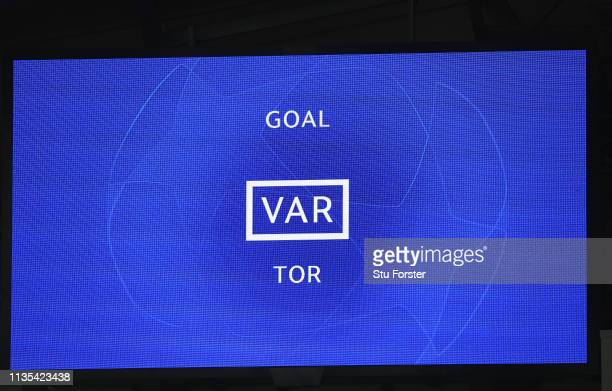 The big screen signals a VAR goal decision during the UEFA Champions League Round of 16 Second Leg match between Manchester City v FC Schalke 04 at...