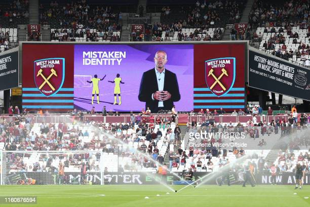 The big screens at The London Stadium show a video about VAR narrated by Alan Shearer ahead of the Premier League match between West Ham United and...