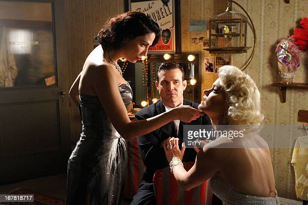 """The Big Snag"""" Episode 413 -- Pictured: Joanne Kelly as Myka Bering, Pete Lattimer as Eddie McClintock, Missi Pyle as Lily --"""