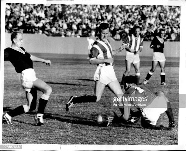 The big strong safe hands of NSW goalkeeper Ron Lord grab the ball during the match against Victoria Centrehalf Erwin Ninaus is ready to cover him...
