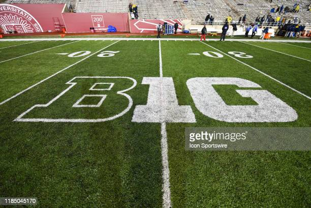The Big Ten Conference logo at Memorial Stadium following a college football game between the Michigan Wolverines and Indiana Hoosiers on November 23...