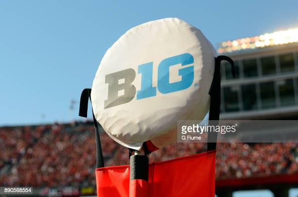 The Big Ten logo on a yardage marker at the game between the Maryland Terrapins and the Wisconsin Badgers at Camp Randall Stadium on October 21 2017...