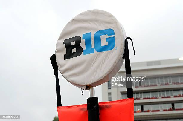 The Big Ten logo on a yardage marker during the game between the Maryland Terrapins and the Bowling Green Falcons at Byrd Stadium on September 12...