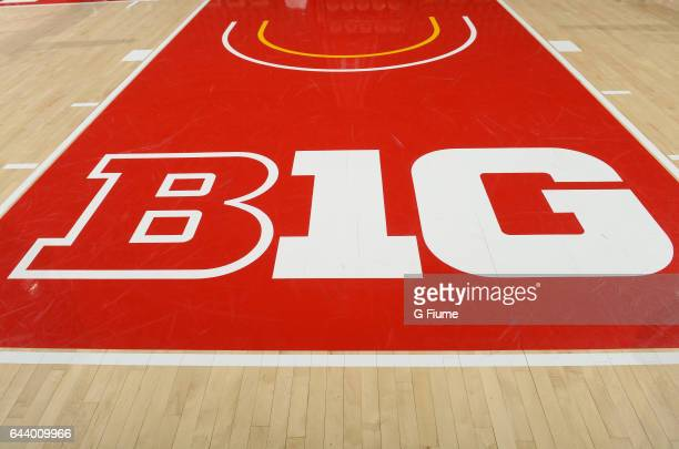 The Big Ten logo on the court at the Xfinity Center on February 4 2017 in College Park Maryland