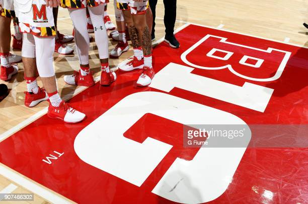 The Big Ten logo on the court before the game between the Maryland Terrapins and the UMBC Retrievers at Xfinity Center on December 29 2017 in College...