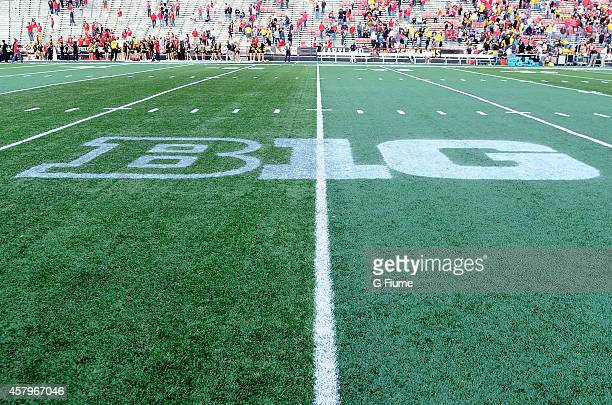 The Big Ten logo on the field after the game between the Maryland Terrapins and the Iowa Hawkeyes at Byrd Stadium on October 18 2014 in College Park...