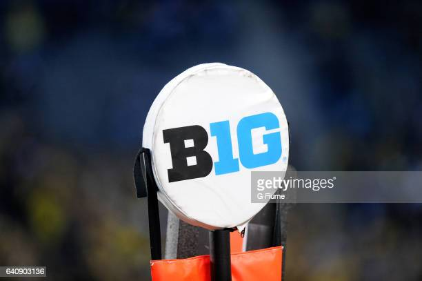 The big ten logo on the yardage marker during the game between the Maryland Terrapins and the Michigan Wolverines at Michigan Stadium on November 5...