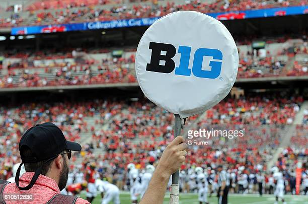 The Big Ten logo on the yardage markers at the game between the Maryland Terrapins and the Howard Bison at Maryland Stadium on September 3 2016 in...
