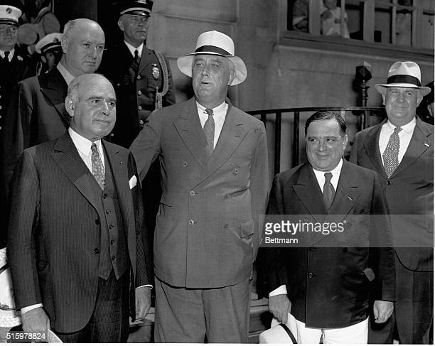 The Big Three of the Triborough Bridge project in New York President Franklin D Roosevelt whose New Deal fathered the project Governor Herbert H...