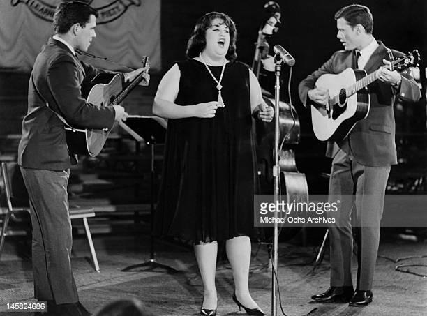 The Big Three perform on the TV show Hootenanny at Boston University in 1963 in Boston Massachusetts