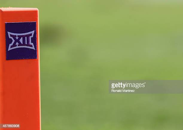 The Big XII logo on a pylon at Amon G Carter Stadium on October 25 2014 in Fort Worth Texas