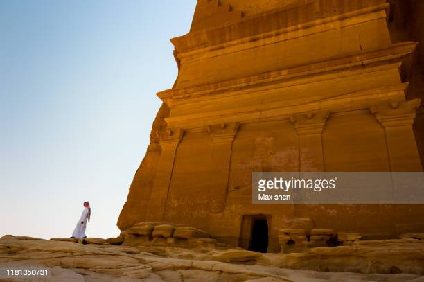the biggest ancient tomb in madain saleh, saudi arabia. - mada'in saleh stock pictures, royalty-free photos & images