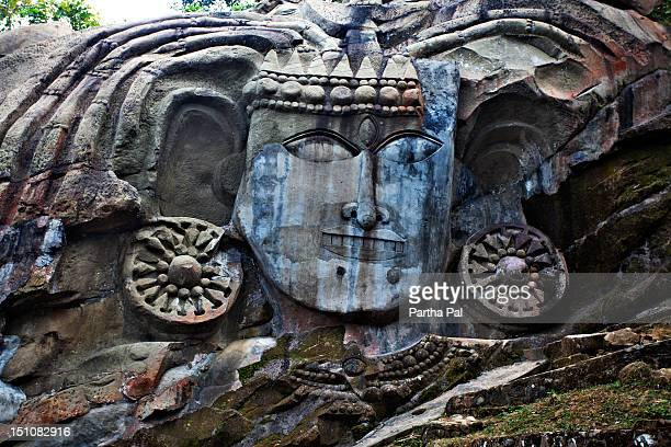 the biggest bas-relief of lord shiva in unakoti - tripura state stock pictures, royalty-free photos & images