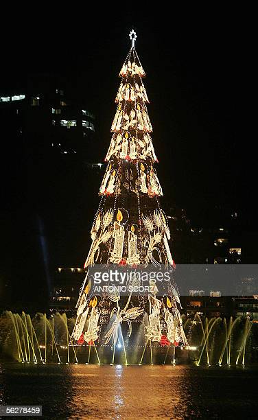 The biggest Christmas tree according to the Guinness Book of World Records surrounded by dancing water is seen on its inauguration day 26 November...