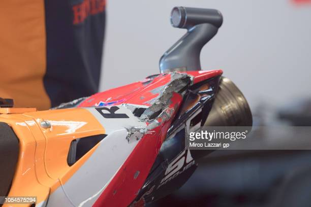 The bike broken of Marc Marquez of Spain and Repsol Honda Team parks in box during the MotoGP race during the MotoGP of Australia Race during the...