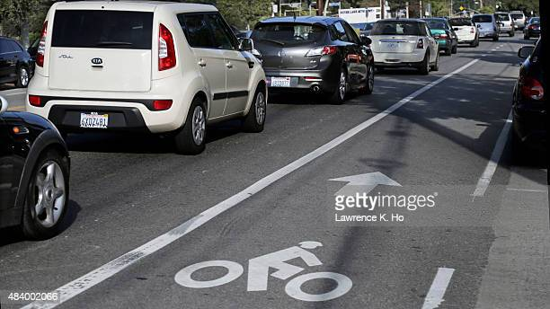 The bike lane with traffic on Rowena Ave from West Silver Lake Dr to Lakewood Ave N on August 13 2015 in Los Angeles California As part of a sweeping...