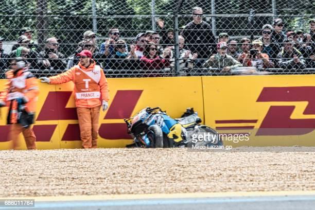 The bike of Jack Miller of Australia and Team EG 00 Marc VDS after crashed out during the MotoGp of France Qualifying on May 20 2017 in Le Mans France