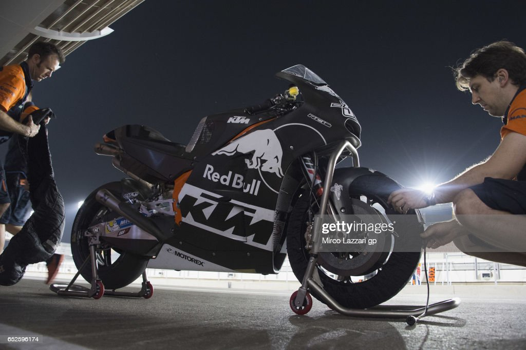 The bike of Mika Kallio of Finland and Red Bull KTM Factory Racing park in pit during the MotoGP Tests In Losail at Losail Circuit on March 12, 2017 in Doha, Qatar.