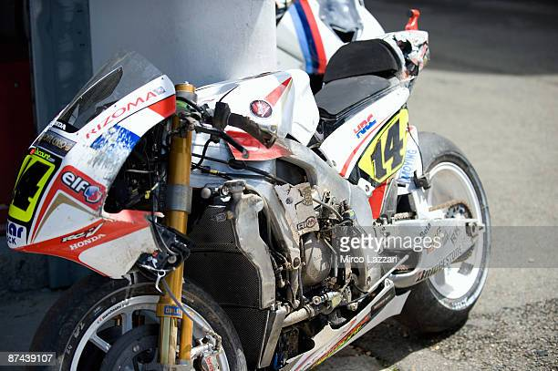 The bike of Randy De Puniet of France and LCR Honda MotoGP after crash during the qualifying practice of MotoGP of France on May 16 2009 in Le Mans...