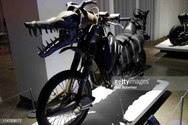 The Biker Hound Motorcycle from AI Artificial Intelligence is displayed during the opening of the new exhibit Hollywood Dream Machines Vehicles Of...
