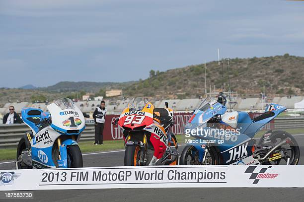 The bikes of Pol Espargaro of Spain and Pons 40 HP Tuenti Marc Marquez of Spain and Repsol Honda Team and Maverick Vinales of Spain and Team Calvo...