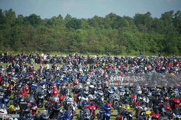 The bikes park on the parking during the Moto3 race of the MotoGp Of Holland at TT Circuit Assen on June 30 2012 in Assen Netherlands