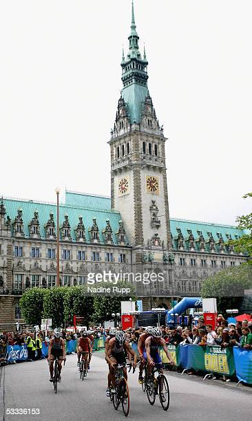The biking disziplin are seen with the townhall in the background during the Holsten City Man Elite Triathlon on August 7 2005 in Hamburg Germany