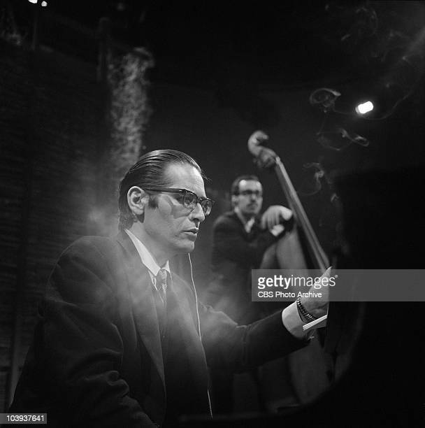 The Bill Evans Trio performing on CAMERA THREE. Bill Evans is on the piano. Image dated May 17, 1968.