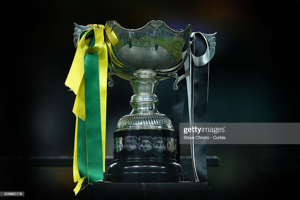 The Bill Kelly Memorial Trophy to be presented to the winner of the ANZAC match between Australia and New Zealand at Allianz Stadium. Sydney, Australia. Friday 2nd May 2014.