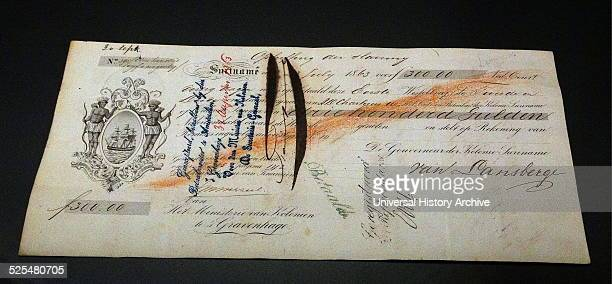 The bill of exchange 'abolition of slavery' from the Dutch Colonial Ministry Dated 1863