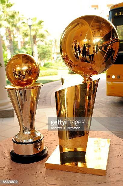 The Bill Russell MVP Trophy and the Larry O'Brien trophy are shown before the Los Angeles Lakers return to Los Angeles following their NBA Finals win...