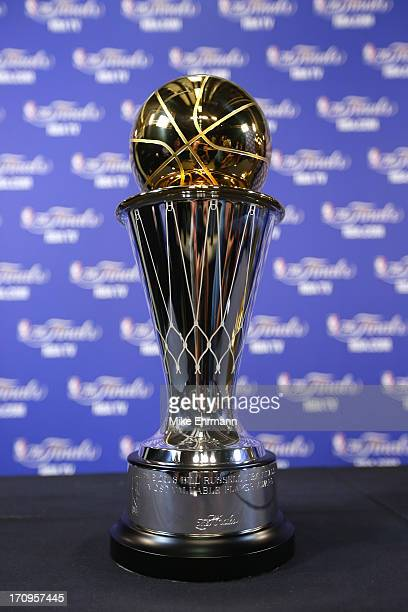 The Bill Russell NBA Finals Most Valuable Player Award is seen before Game Seven of the 2013 NBA Finals between the Miami Heat and the San Antonio...