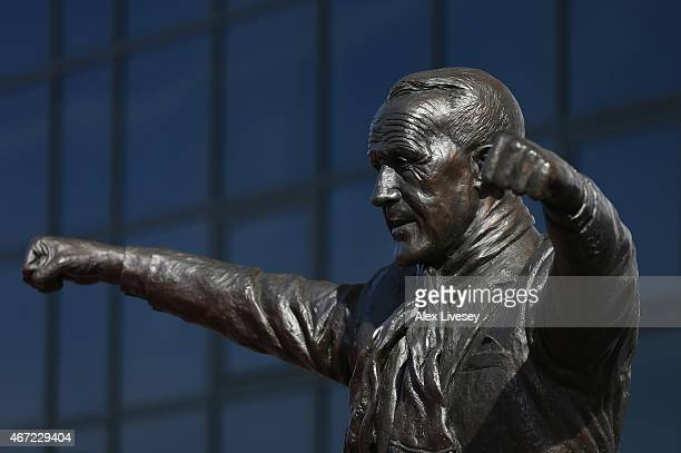 The Bill Shankly statue is pictured prior to the Barclays Premier League match between Liverpool and Manchester United at Anfield on March 22 2015 in...