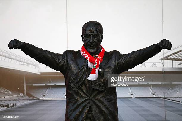 The Bill Shankly statue is seen prior to the Premier League match between Liverpool and Stoke City at Anfield on December 27 2016 in Liverpool England
