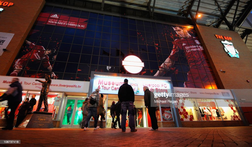 buy popular fb561 ca3bb The billboard signage above the Liverpool FC club shop shows ...