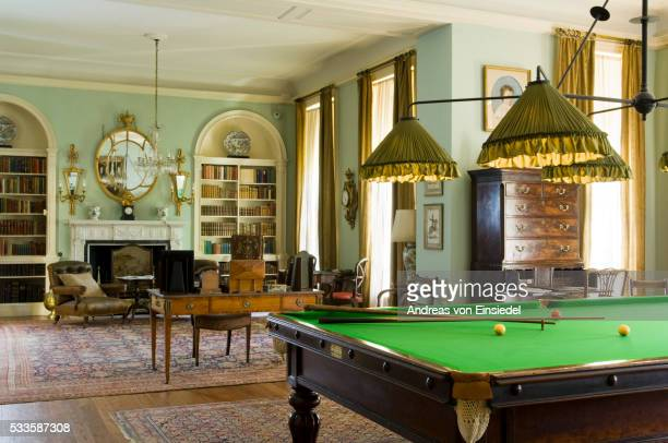 the billiard room, designed by ambrose poynter in 1903-5, at polesden lacey, nr dorking, surrey - 20th century style stock pictures, royalty-free photos & images