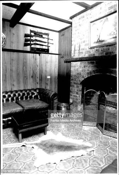 The billiard room with the rifle rack and the one missing 222 rifleInteriors of Colin Peeks home where his son Adam committed suicide by shooting...
