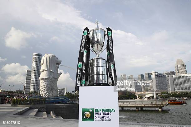 The Billie Jean King trophy is displayed at Merlion Park prior to the BNP Paribas WTA Finals Singapore on October 21, 2016 in Singapore.