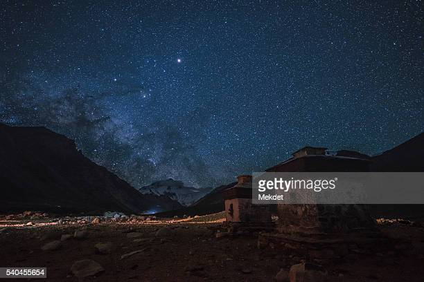 The Billion of Stars and the Milky way over Mt. Everest, Himalayan Mountain Range, Tibet, China