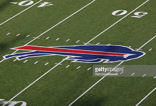 The Bills logo decal at midfield of the Tennessee Titans NFL game against the Buffalo Bills at Ralph Wilson Stadium on December 4 2011 in Orchard...