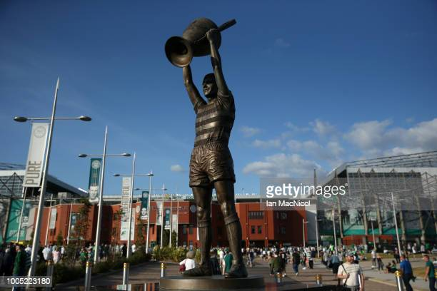 The Billy McNeill Statue is seen outside the stadium prior to the first leg UEFA Champions League Qualifier match between Celtic and Rosenborg at...