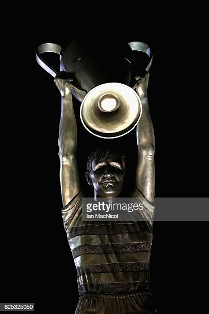 The Billy McNeill statue outside the stadium prior to kick off during the UEFA Champions League Group C match between Celtic FC and FC Barcelona at...