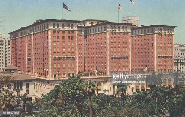 The Biltmore Hotel in Los Angeles California with American flags flying Los Angeles California 1930