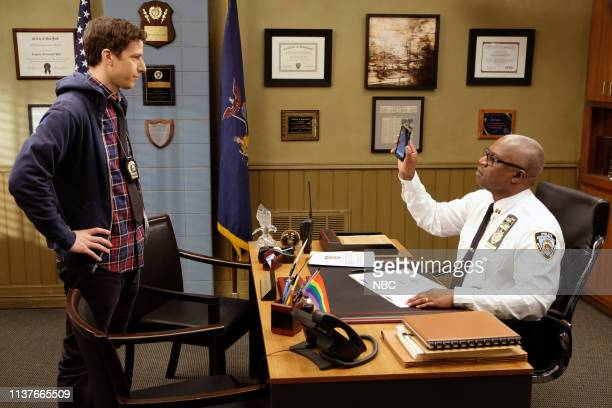 NINE The Bimbo Episode 613 Pictured Andy Samberg As Jake Peralta Andre Braugher Ray Holt