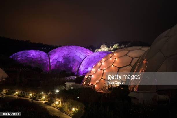 The Biomes at the Eden Project are illuminated on November 22 2018 in Cornwall England Staff at the Eden Project which is home to the world's largest...