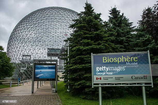The Biosphere Environment Museum featuring a geodesic dome designed by Richard Buckminster Fuller is viewed on June 28 2015 in Montreal Quebec Canada...