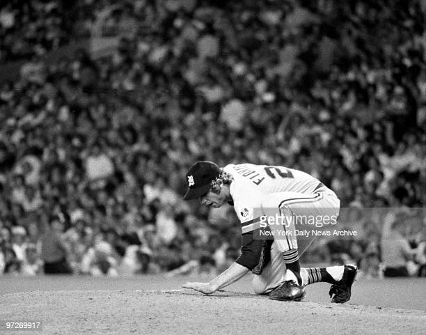 """The Bird in """"Tiger Stripes"""" Mark Fidrych, pats the mound as he gets busy at Yankee Stadium. He also had plenty to say to the ball as usual, but by..."""