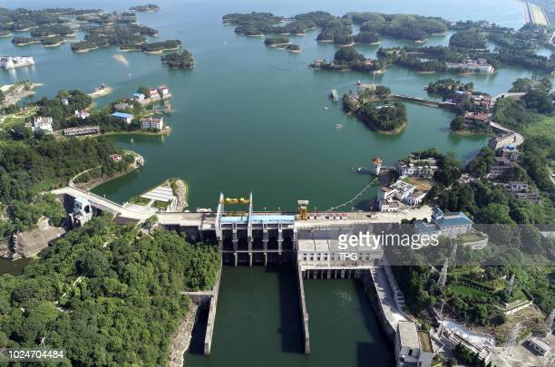 The bird view of Three Gorges test dama land water hydrojunction project on 27 August 2018 in XianningHubei China