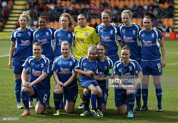 The Birmingham City Ladies team pose for a team photo during the Womens UEFA Champions League Quarter Final match between Arsenal Ladies and...