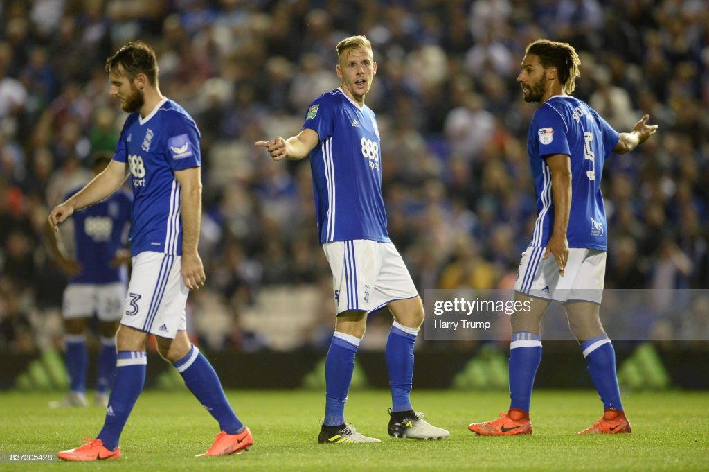 The Birmingham City players react to AFC Bournemouth scoring their second goal during the Carabao Cup Second Round match between Birmingham City and AFC Bournemouth at St Andrews (stadium) on August 22, 2017 in Birmingham, England.